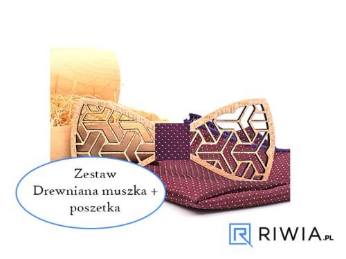 9ec17c851e1eb8 Kup teraz! Mucha drewniana + poszetka bordowa M04 - Sklep Riwia.pl