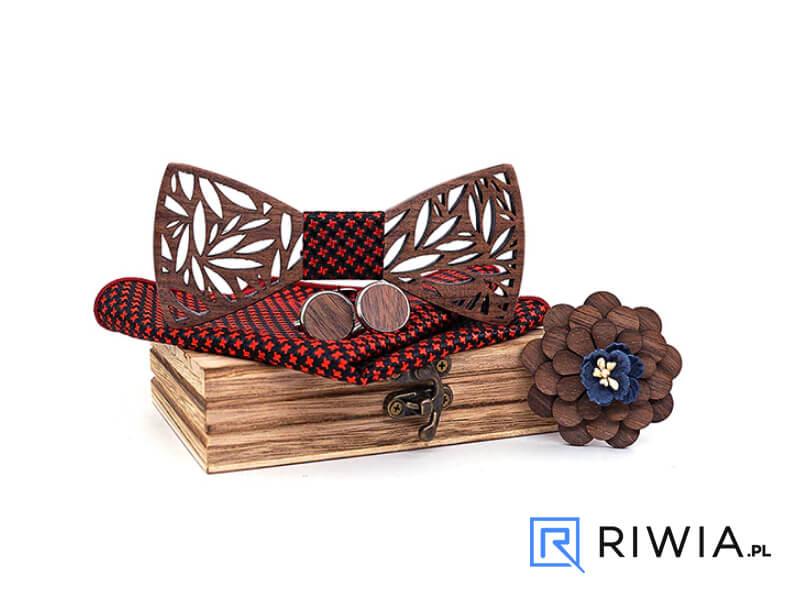 2c0f10f8e225bd Kup teraz! Muszka drewniana + spinki + poszetka czerwono-czarna M02 ...