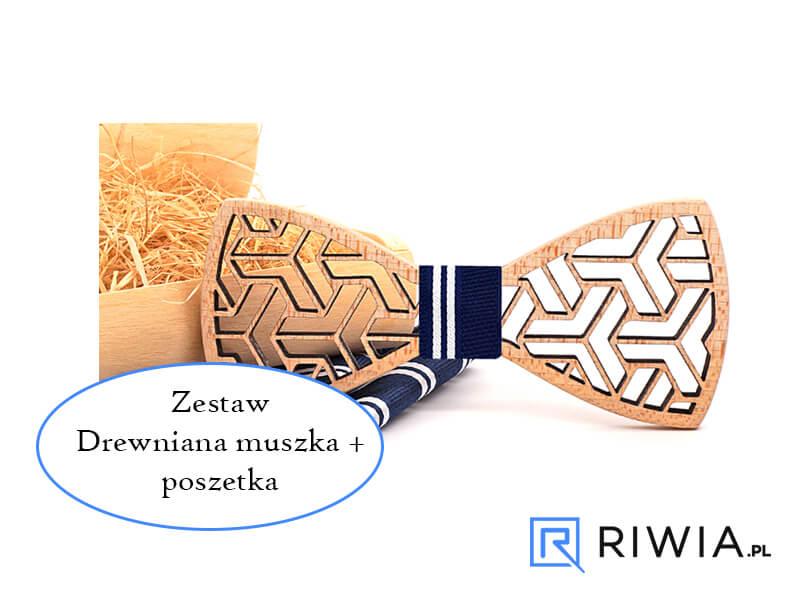 d59b62ad4fe157 Kup teraz! Muszka drewniana + poszetka granatowa M05 - Sklep Riwia.pl