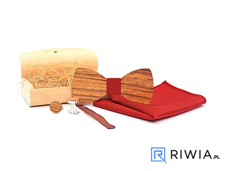 eca61dc290eaff Kup teraz! Drewniana muszka + spinki + poszetka czerwona M08 - Sklep ...