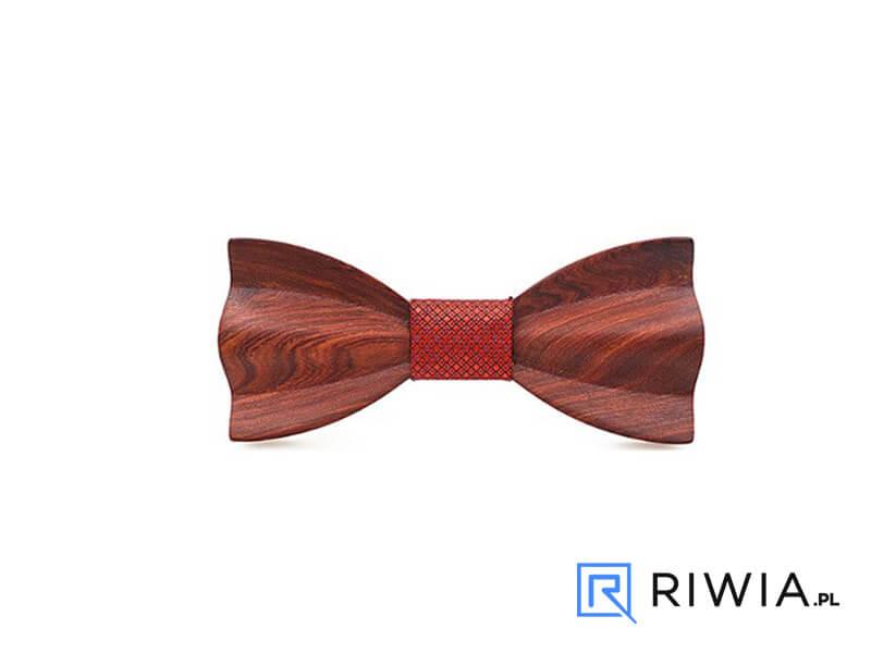 c706afe2759a0b Kup teraz! Mucha drewniana + poszetka czerwona M09 - Sklep Riwia.pl